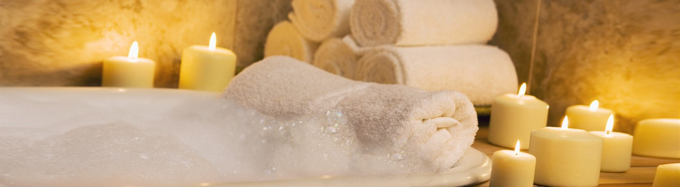 hot bubble bath with relaxing ambiance
